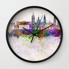 Guadalajara skyline in watercolor background Wall Clock
