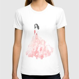 Fashion illustration pink long gown T-shirt
