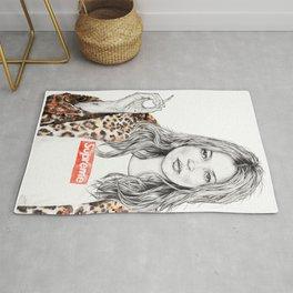 Kate Moss Supreme Leopard Print Portrait Rug