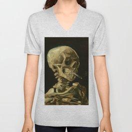 Skull with Burning Cigarette Unisex V-Neck