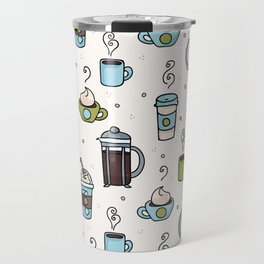 Vector coffee seamless repeat pattern illustration different caffeine drinks Travel Mug