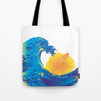 hokusai Tote Bags featuring Hokusai Rainbow & Hibiscus_Y  by FACTORIE
