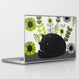 Sleepy cat and floral bouquet Laptop & iPad Skin