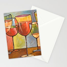 Whites and Reds ... abstract wine glass art, kitchen bar prints Stationery Cards