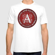 Joshua 24:15 - (Silver on Red) Monogram A Mens Fitted Tee White MEDIUM