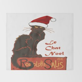 Le Chat Noel Christmas Vector Throw Blanket
