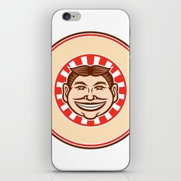 Grinning Funny Face Mascot Circle Retro iPhone Skin