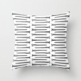 Silver Screws Texture Poster Throw Pillow