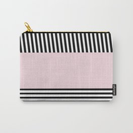Elegant pink black white stripes pattern Carry-All Pouch