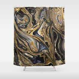 Black and Gold Liquid Marble Shower Curtain