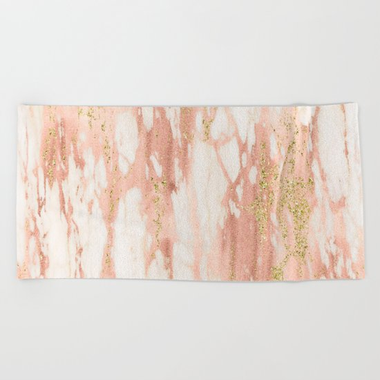 Rose Gold Marble - Rose Gold Yellow Gold Shimmery Metallic Marble Beach Towel