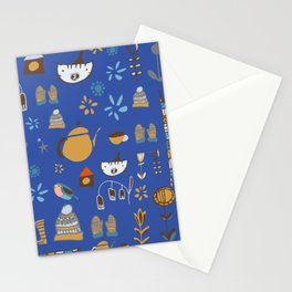 hygge cat and bird blue Stationery Cards