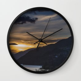 Sunset on Queenstown and Lake Wakatipu Wall Clock