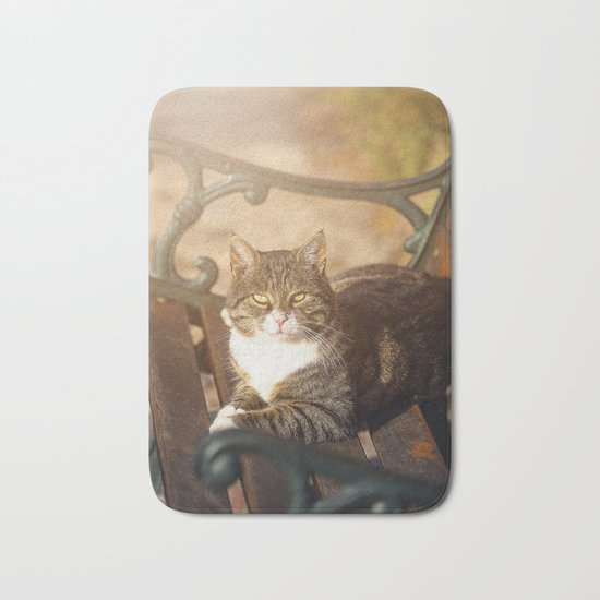 Cute cat relaxing in the sun on old bench Bath Mat