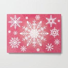 Snowflakes Rubine Red And White Metal Print