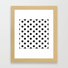 White & Black Polka Dots Framed Art Print
