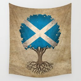 Vintage Tree of Life with Flag of Scotland Wall Tapestry