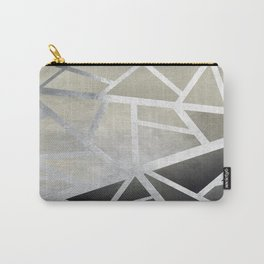 Textured Metal Geometric Gradient With Silver Carry-All Pouch