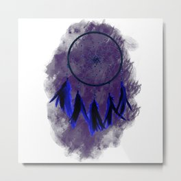 Dreamcatcher Deep Blue Darkness: Purple background Metal Print