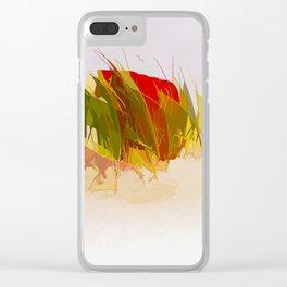 Beach chair in beach grass Clear iPhone Case