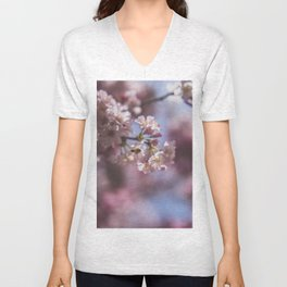 Bee with Cherry Blossoms Unisex V-Neck