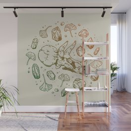Triceratops Rocks! | Leaf Green & Pumpkin Spice Ombré Wall Mural