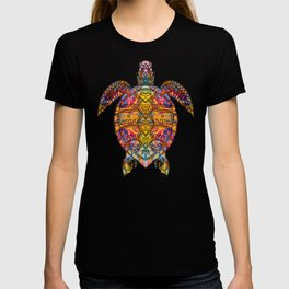 Psychedelic Hippie Sea Turtle design Gift Tribal Turtle graphic T-shirt