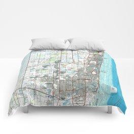 Fort Lauderdale Florida Map (1985) Comforters