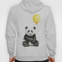 Panda Watercolor Animal with Yellow Balloon Nursery Baby Animals Hoody