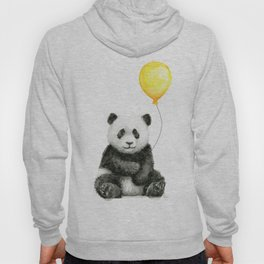 Panda Watercolor Animal with Yellow Balloon Nursery Baby Animals Hoody
