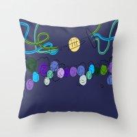 miles davis Throw Pillows featuring Miles Ahead  by David Corneail