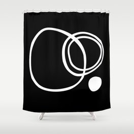 Line Art, Modern, Minimal, Black and White Shower Curtain