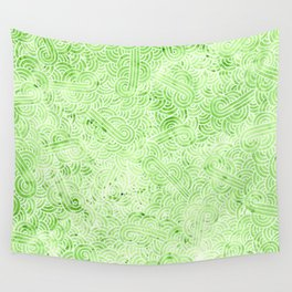 Greenery and white swirls doodles Wall Tapestry