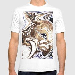 Metallic Gold Purple White Marble Swirl T-shirt