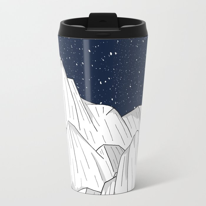 The white mountains under the stars Metal Travel Mug