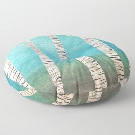 Turquoise birch forest Floor Pillow