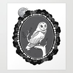 Night Owl Oval Art Print