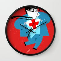 heroes Wall Clocks featuring Heroes by Simone Massoni