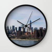 rileigh smirl Wall Clocks featuring NYC Skyline by Rileigh Smirl
