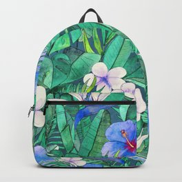 White Bird of Paradise & Blue Hibiscus Tropical Garden Backpack