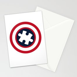 His Fight Is My Fight Autism Awareness Shield Captain Autism Stationery Cards
