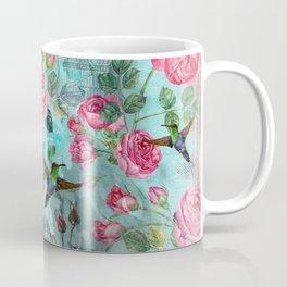 Vintage Watercolor hummingbird and English Roses Coffee Mug