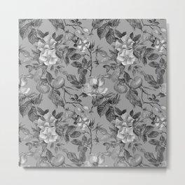 Vintage hand painted black gray watercolor roses floral Metal Print