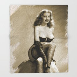 Vintage Pinup Digital Painting Throw Blanket