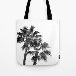 B&W Palm Tree Print | Black and White Summer Sky Beach Surfing Photography Art Tote Bag