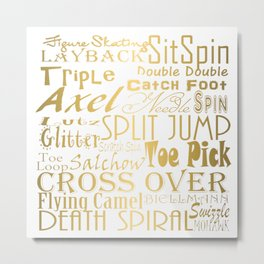 Figure Skating Subway Style Typographic Design Gold Foil Metal Print