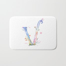 Letter V watercolor - Watercolor Monogram - Watercolor typography - Floral lettering Bath Mat