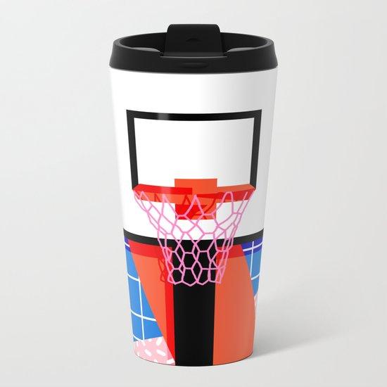 Baller - memphis retro grid neon pattern minimal basketball sports athletic art print Metal Travel Mug