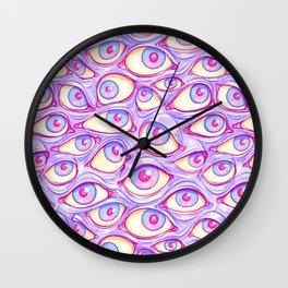 Wall of Eyes in Purple Wall Clock