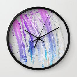 Lavender Magenta Brushstrokes on Light Gray Abstract Wall Clock
